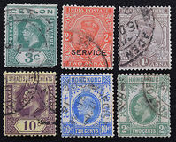 英国殖民地一系列的老邮票  库存照片