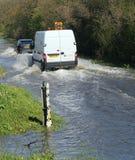 英国洪水的路 免版税库存图片