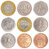 英国流通的硬币收集 免版税图库摄影