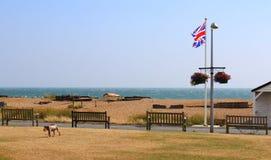 英国海岸英国国旗旗子肯特英国 库存照片
