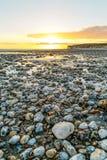 英国海边日落 免版税库存图片