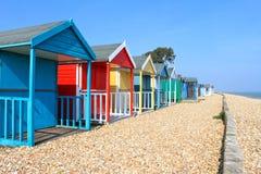 英国海滩小屋 免版税库存图片