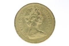 英国特写镜头1 1英镑硬币 免版税库存照片
