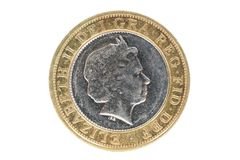 英国特写镜头2 1英镑硬币 库存照片