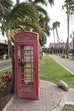 英国电话箱子在Oramjestad阿鲁巴 库存照片