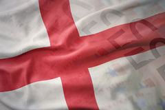 英国的五颜六色的挥动的国旗欧元金钱钞票背景的 免版税库存图片