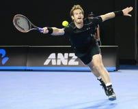 英国的全垒打冠军安迪・穆雷行动的在他的澳网2016决赛期间 图库摄影