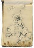 英国的原始葡萄酒映射 免版税库存照片