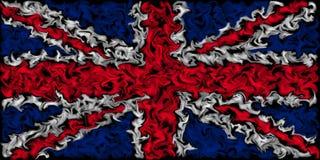 英国的英国国旗旗子-燃烧的被抹上的颜色旗子设计 向量例证