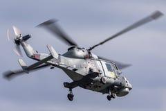 英国皇家海军海军航空兵部队AgustaWestland不可靠的HMA 2个AW-159反水下战争直升机ZZ381 免版税库存图片