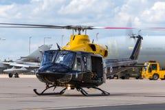 英国皇家空军皇家空军响铃412EP新来的人HT 在皇家空军驻地Waddington的1架直升机ZJ235 免版税图库摄影