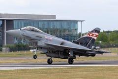 英国皇家空军皇家空军Eurofighter EF-2000台风从没有的FGR4 ZK343 29R分谴舰队根据在皇家空军Coningsby 免版税库存图片