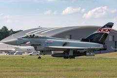 英国皇家空军皇家空军Eurofighter EF-2000台风从没有的FGR4 ZK343 29R分谴舰队根据在皇家空军Coningsby 图库摄影