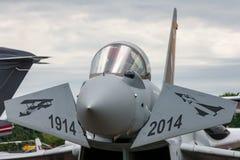 英国皇家空军皇家空军Eurofighter EF-2000台风FGR 从没有的4个ZK342 6分谴舰队根据在特别号衣的皇家空军Lossiemouth 免版税库存照片