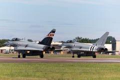 英国皇家空军皇家空军Eurofighter EF-2000台风FGR 从没有的4个ZK343 29R分谴舰队根据在皇家空军Coningsby 免版税库存图片