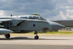 英国皇家空军皇家空军Panavia龙卷风GR4 XV R分谴舰队ZA606根据在皇家空军Lossiemouth 免版税库存照片