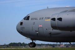 英国皇家空军C17驾驶舱和引擎 免版税库存图片