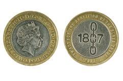 英国硬币两磅 库存照片