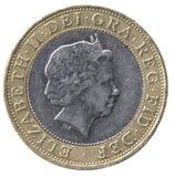 英国硬币前面镑二 免版税库存照片