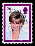 英国肺基础作用的,戴安娜4月1997年,威尔士王妃记念serie戴安娜,大约1997年 免版税库存图片