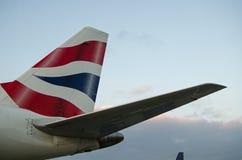 英国航空公司垂直稳定器 免版税库存图片