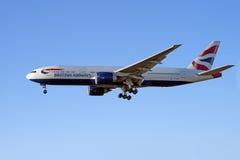 英国航空公司波音777飞机 库存图片