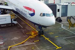 从英国航空公司(BA)的一架波音767飞机 库存图片