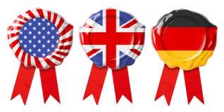 英国英国、德语和美国旗子保证封印 免版税库存照片