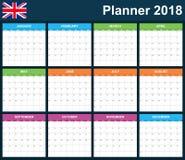 英国计划者空白在2018年 英国调度程序、议程或者日志模板 在星期一,星期起始时间 免版税库存照片