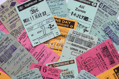 英国车票的colourfull汇集 图库摄影