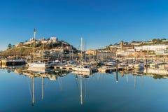 英国里维埃拉的Torquay小游艇船坞 免版税图库摄影