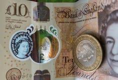 英国金钱笔记、现金、变动和购物的收据 图库摄影
