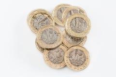 英国铸造一镑 库存图片