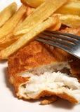 英国鱼炸薯条膳食 免版税库存图片