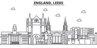 英国,利兹建筑学线地平线例证 与著名地标的线性传染媒介都市风景,城市视域 库存例证