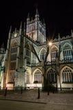 英国,浴- 2015年9月20日:巴恩修道院在夜D之前 免版税库存照片