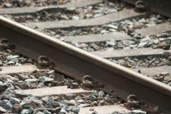 英国类型铁路/铁路轨道 免版税库存照片
