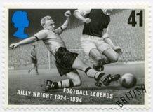 英国- 1996年:展示威廉安布罗斯比利・胡礼1924-1994,系列橄榄球传奇 免版税图库摄影