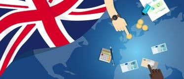 英国财政银行业务预算的英国英国经济财政金钱贸易概念例证与旗子地图的 库存图片