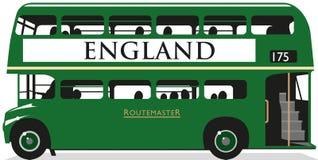 英国绿色公共汽车(英国) 免版税库存图片