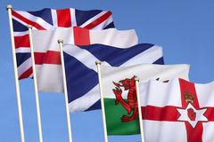 英国-英伦三岛的旗子 库存图片