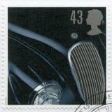 英国- 1996年:展示捷豹汽车XK 120, 1948年,系列经典英国跑车 免版税库存照片
