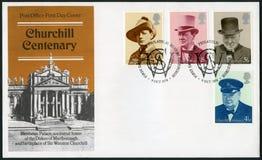英国- 1974年:展示温斯顿Spencer丘吉尔先生1874-1965,与帽子,政客 库存照片