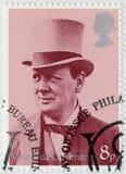 英国- 1974年:展示温斯顿Spencer丘吉尔先生1874-1965,与高顶丝质礼帽,比如军事部长和Air, 1919年 库存照片