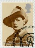 英国- 1974年:展示温斯顿Spencer丘吉尔1874-1965,南非轻骑兵队军团制服先生1899 图库摄影