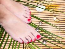 英尺与理想的温泉pedicure的行程在竹子 免版税图库摄影