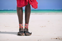 英尺和鞋子Maasai 免版税库存照片