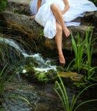英尺在森林.fairy传说的水中 免版税库存图片