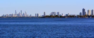英属黄金海岸地平线-昆士兰澳大利亚全景  库存图片