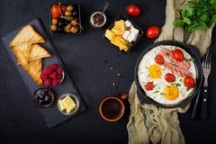 英式早餐-煎蛋 免版税库存图片